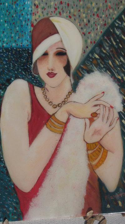 quadro di donna tipo art deco anni 20/30