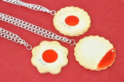 Collana Biscotto alla Marmellata di Fragole-collana biscotto strass-Gioielli Fimo- Bijoux-Handmade