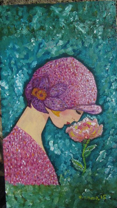 Quadro ad olio su legno , profilo di donna con fiore, tipo art deco, anni20/30