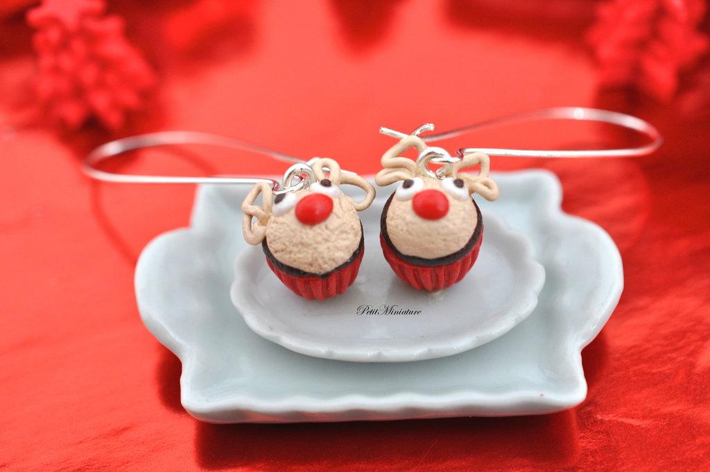 Orecchini Cupcake Renna Natale-Natale Cupcake-Fimo Miniature cibo-Pendenti
