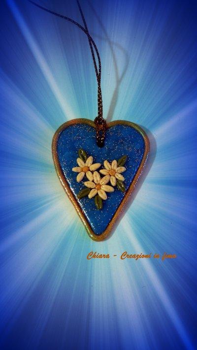 Addobbo natalizio con cuore blu e oro lavorato in rilievo Idea regalo Natale