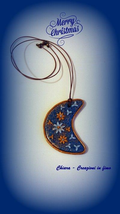 Addobbo natalizio con luna blu e oro lavorata in rilievo Idee regalo Natale