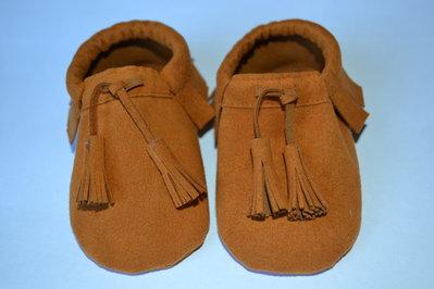 MOCASSINI in camoscio con NAPPINE per neonati/e e bambini/e
