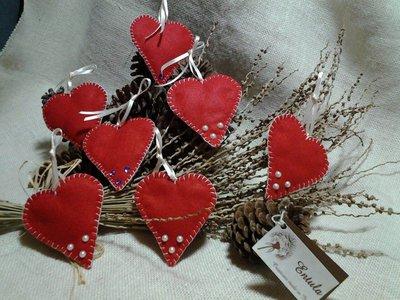 5 decorazioni in feltro natalizie cuori albero di natale - Decorazioni cuori ...