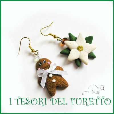 "Orecchini Natale ""Gingerbread  e stella di Natale  bianca"" pandizenzero  kawaii bambina idea regalo  snowman earrings fimo cernit moda 2015 idea regalo"