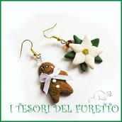"""Orecchini Natale """"Gingerbread  e stella di Natale  bianca"""" pandizenzero  kawaii bambina idea regalo  snowman earrings fimo cernit moda 2015 idea regalo"""