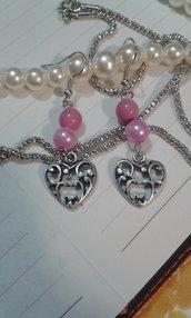 Orecchini cuore lavorao e perle