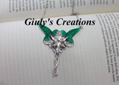 Collana La Stella di Lòrien 2 in 1 La Stella del Vespro e le foglie di Lòrien IL SOGNORE DEGLI ANELLI lo Hobbit Arwen Aragorn Elfi