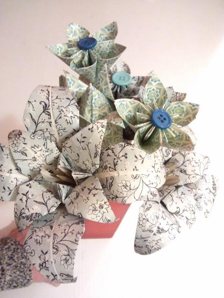Set di fiori di carta, OrigaMI, color verde e azzurro