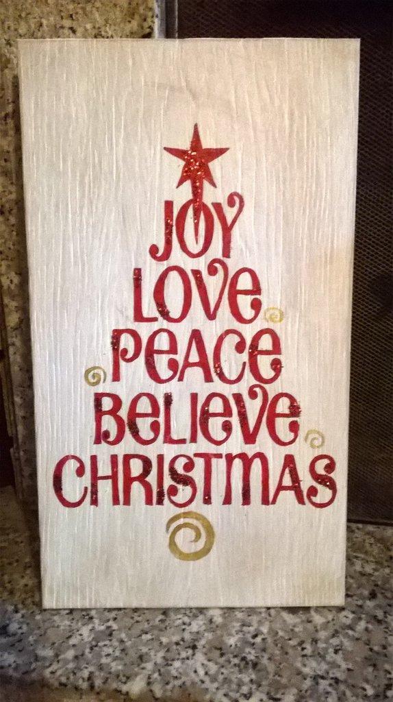 Pannello Natale con scritte a forma di albero