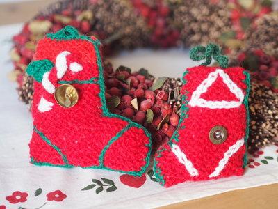 2 decorazioni natalizie calze lana maglia fatte a mano - Decorazioni natalizie fatte a mano per bambini ...