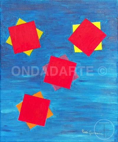Quadro moderno, Dipinto, geometrico, contemporaneo, quadrati, rombi