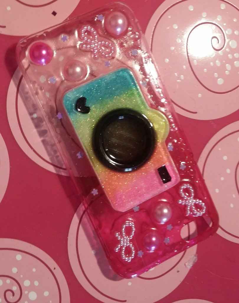 Cover per iphone 5C con cabochon macchina fotografica kawaii