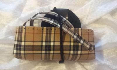 kit Fondo alto e coppia manici in in tessuto scozzese e rondelle fettuccia nero