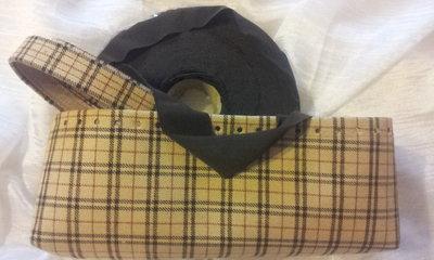 kit Fondo alto e coppia manici in in tessuto scozzese e rondelle fettuccia testa di moro