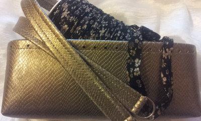 kit Fondo alto e coppia manici in in ecopelle pitonato bronzo perlato rocca fettuccia fantasia