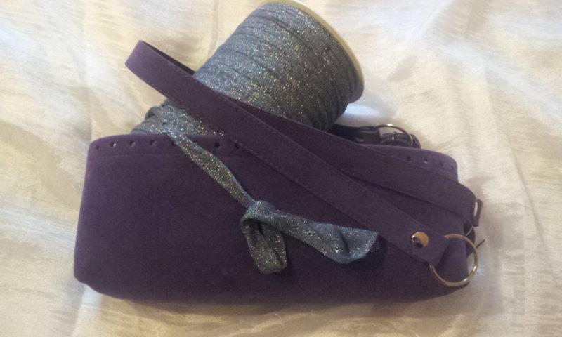 kit Fondo alto e coppia manici in tessuto effetto dainetto per borse in fettuccia