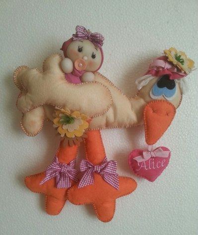 Fiocco nascita con cicogna e bambolina