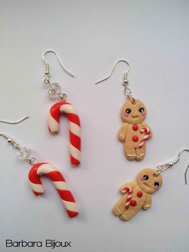 Orecchini a tema natalizio con bastoncino di zucchero e biscottino pan di zenzero a scelta.