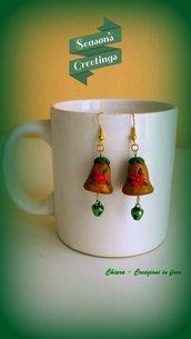 Orecchini in fimo handmade campanelle con campanellino idee regalo natale