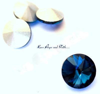 "Rivoli in vetro (diam. circa 10 mm) ""Blu oceano"" (cod new)"