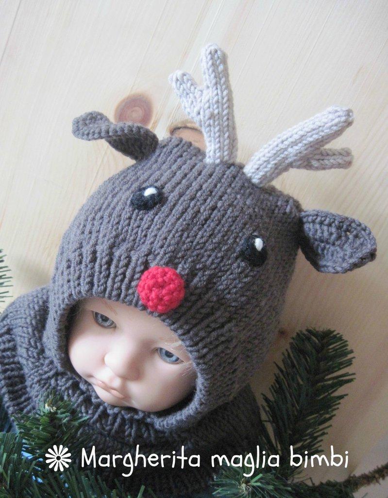 """Berretto """"renna"""" in pura lana merino superwash fatto a mano - idea regalo Natale!"""