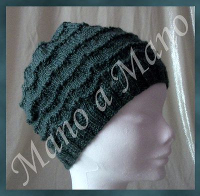 Cappello - verde salvia - onde