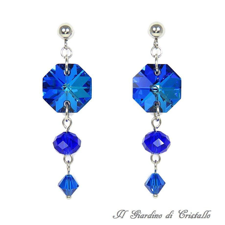 Orecchini pendenti blu ottagoni cristallo bermuda blue acciaio fatti a mano - Amaryllis