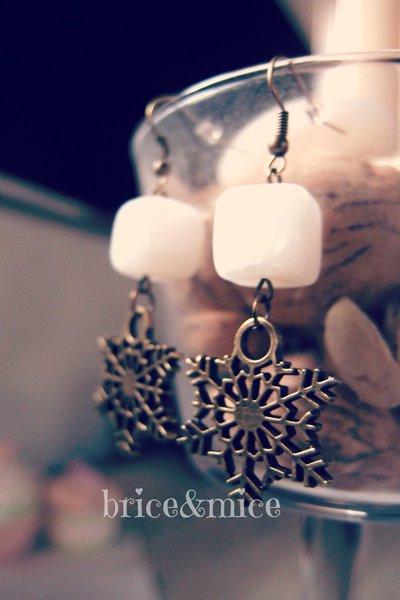 Orecchini pendenti fiocco di neve, orecchini candelier fiocco di neve, orecchino neve, fiocchi di neve