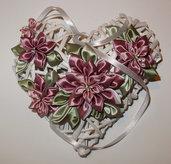 Cuore di vimini /fiocco nascita con fiori kanzashi