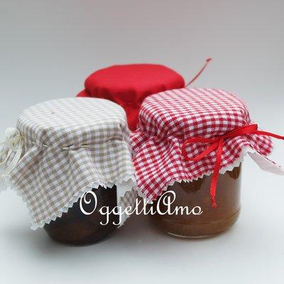Set di 3 coprivasetti in stoffa per decorare le vostre marmellate!