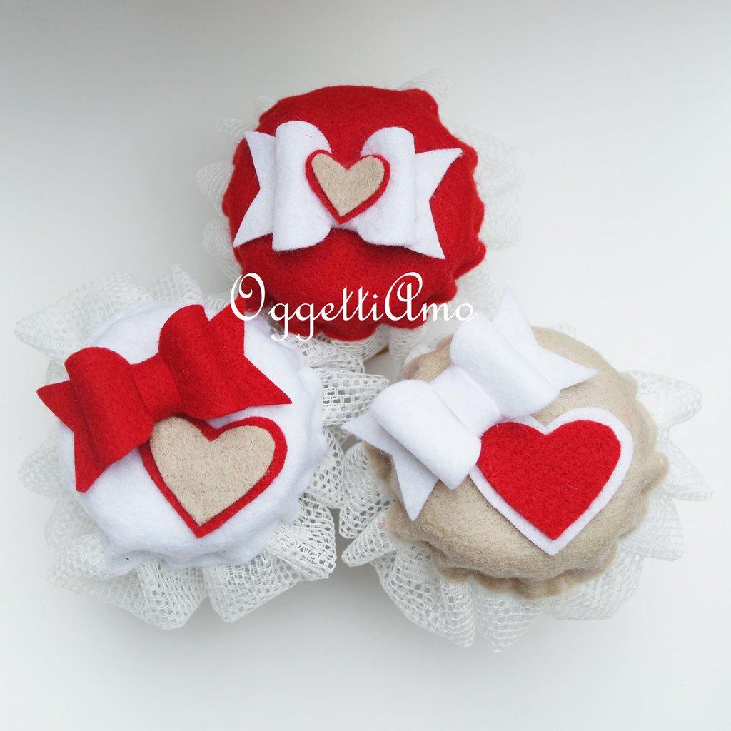 Set di 3 coprivasetti in feltro e tulle per decorare i vostri regali golosi!