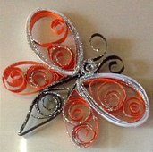 Magnete frigo farfalla arancione handmade. Idee bomboniere
