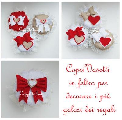 10 diversi coprivasetti in feltro: decorazioni in stoffa per marmellate ed altre golose idee regalo Natalizie!