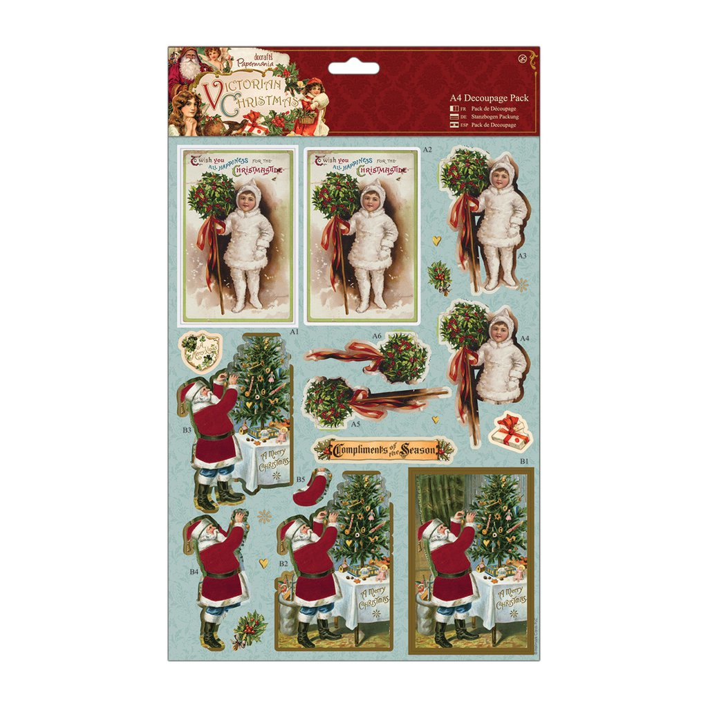 """A4 Decoupage Pack - Victorian Christmas """"Holly"""""""
