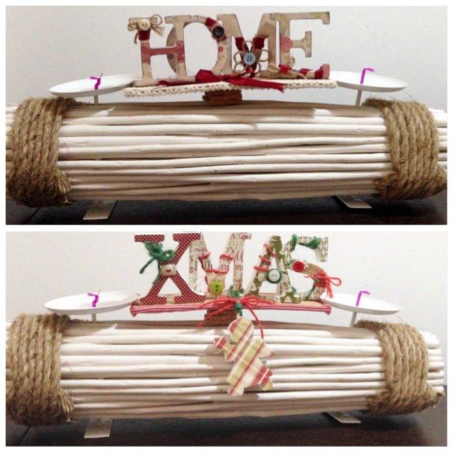 Porta candele in rami e corda con scritte in legno su base di sughero