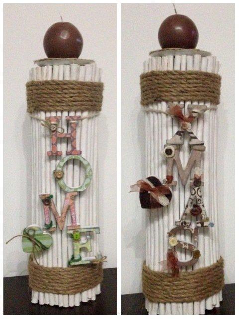 Porta candela in rami e corda con scritte in legno feste - Rami decorativi legno ...