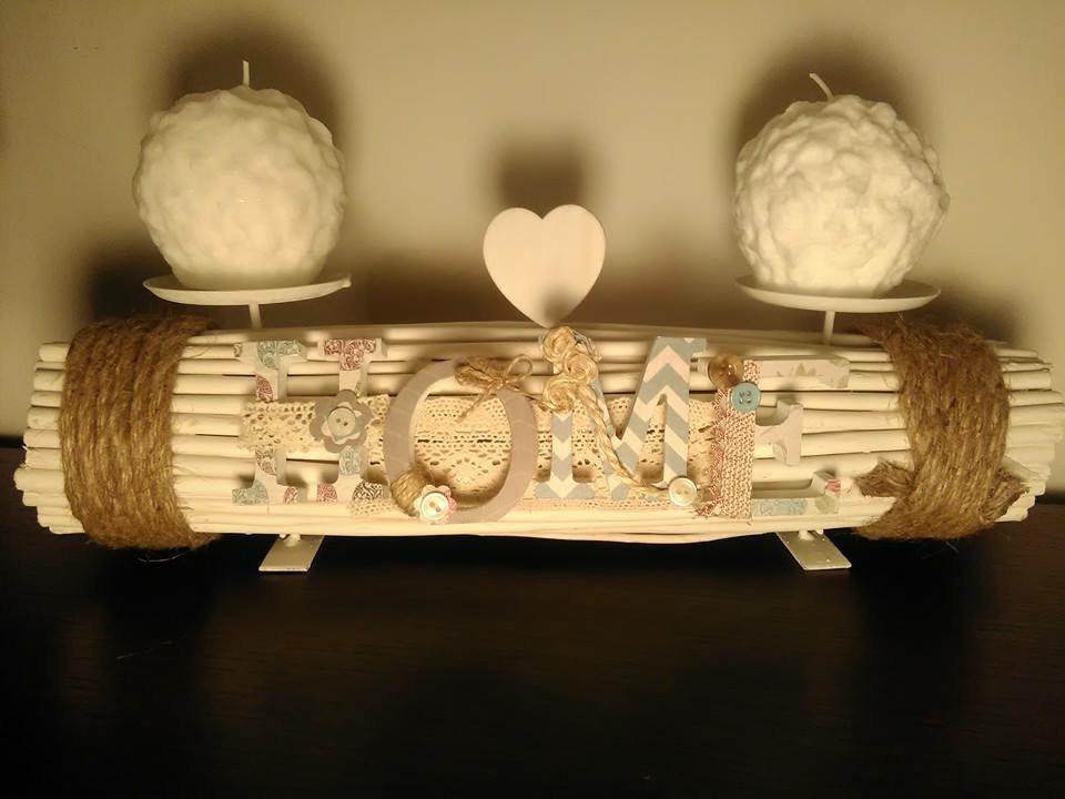 Porta candele in rami e corda con scritta in legno home for Scritta home in legno
