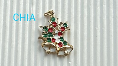 1 charm campanelle smalto natale bianco e verde rosso