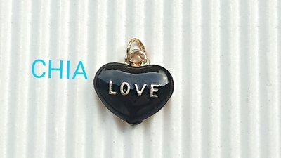 1 charm cuore love smalto nero