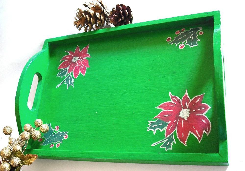 Vassoio di Natale in legno regalo di natale dipinto a mano in verde con motivo di stella di natale e vischio, pezzo unico 23x16x2 cm