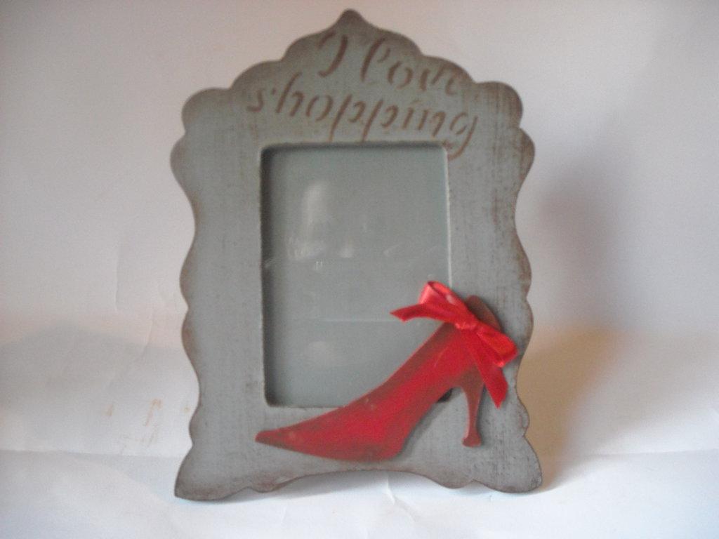 Cornice  portafotografie ,da appoggio pittura,elemento decorativo scarpa da donna,fiocco,stencil