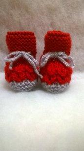 scarpine per neonato rosse e grigie