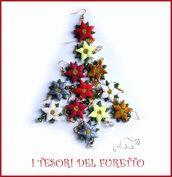 """Set 6 Paia di Orecchini """" Poinsettia Chic"""" stella di Natale fimo cernit eleganti idea regalo bijoux"""