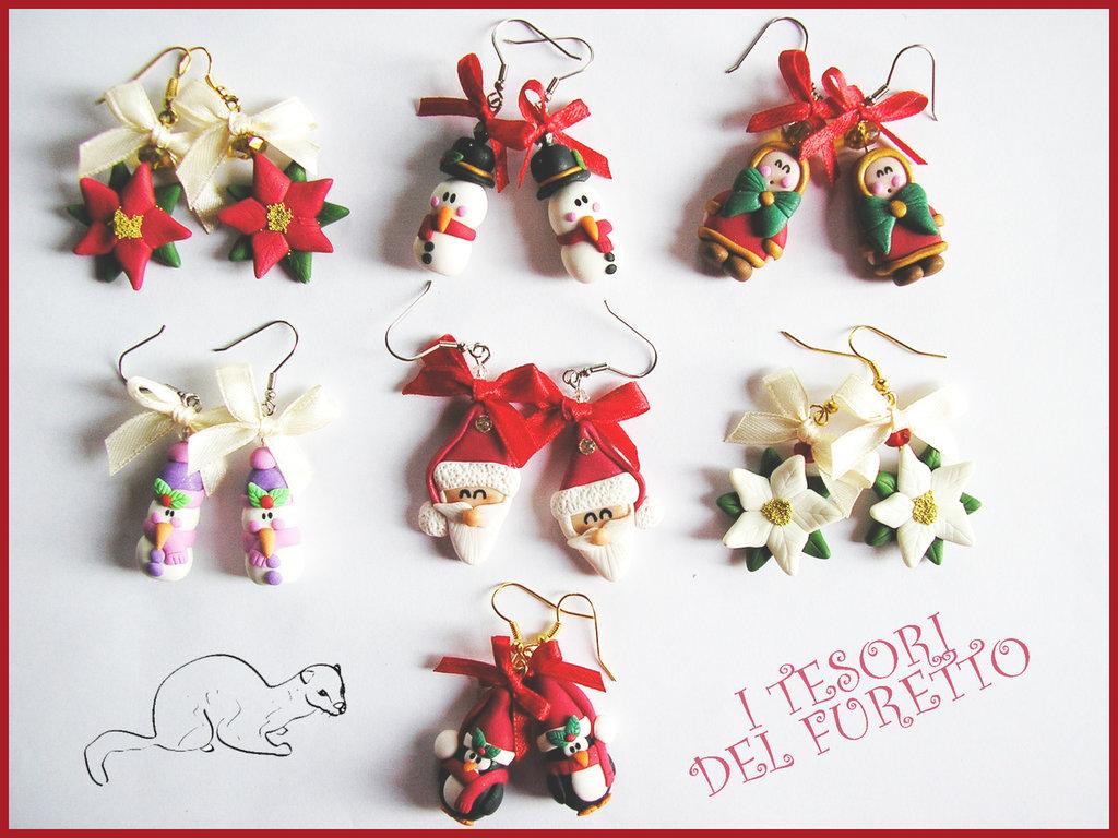"""Set 7 Paia di orecchini Natalizi """"Omino di neve, stella di Natale, Pinguino, Babbo Natale, eschimesi"""" fimo cernit bijoux natalizi idea regalo donna ragazza bambina regalo economico amica collega"""