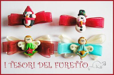 """Set 4 Fermagli Natalizi """"Pinguino, angioletto, pupazzo di Neve"""" fimo cernit premo idea regalo bambina accessori capelli Natale 2015 economico"""