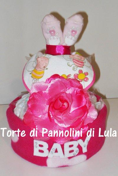 TORTA di PANNOLINI + NOME PERSONALIZZABILE, idea regalo nascita battesimo 1 anno