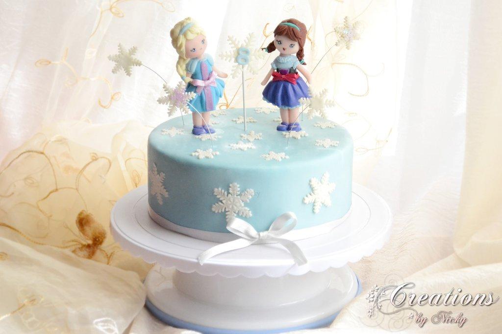 Piano Torta - Cake Topper Finta Elsa e Anna