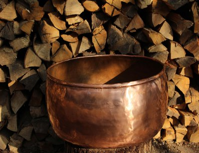 Vaso recipiente porta vaso in rame grande lavorato a mano