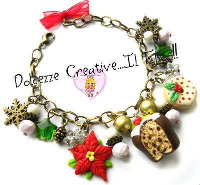☃ Natale In Dolcezze 2015 ☃Bracciale Panettone con agrifoglio - donut - Ciambella - Idea regalo